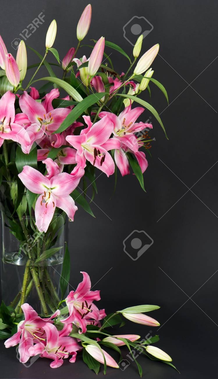Lily flowers bouquet on black background stock photo picture and lily flowers bouquet on black background stock photo 21088858 izmirmasajfo