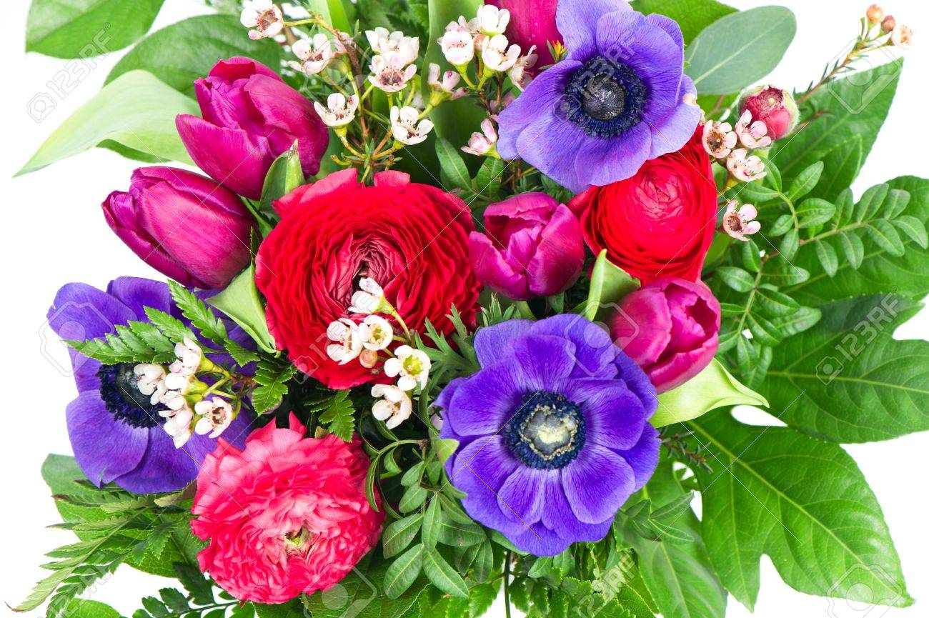 Colorful Flowers Bouquet. Tulips And Roses With Foliage Stock Photo ...