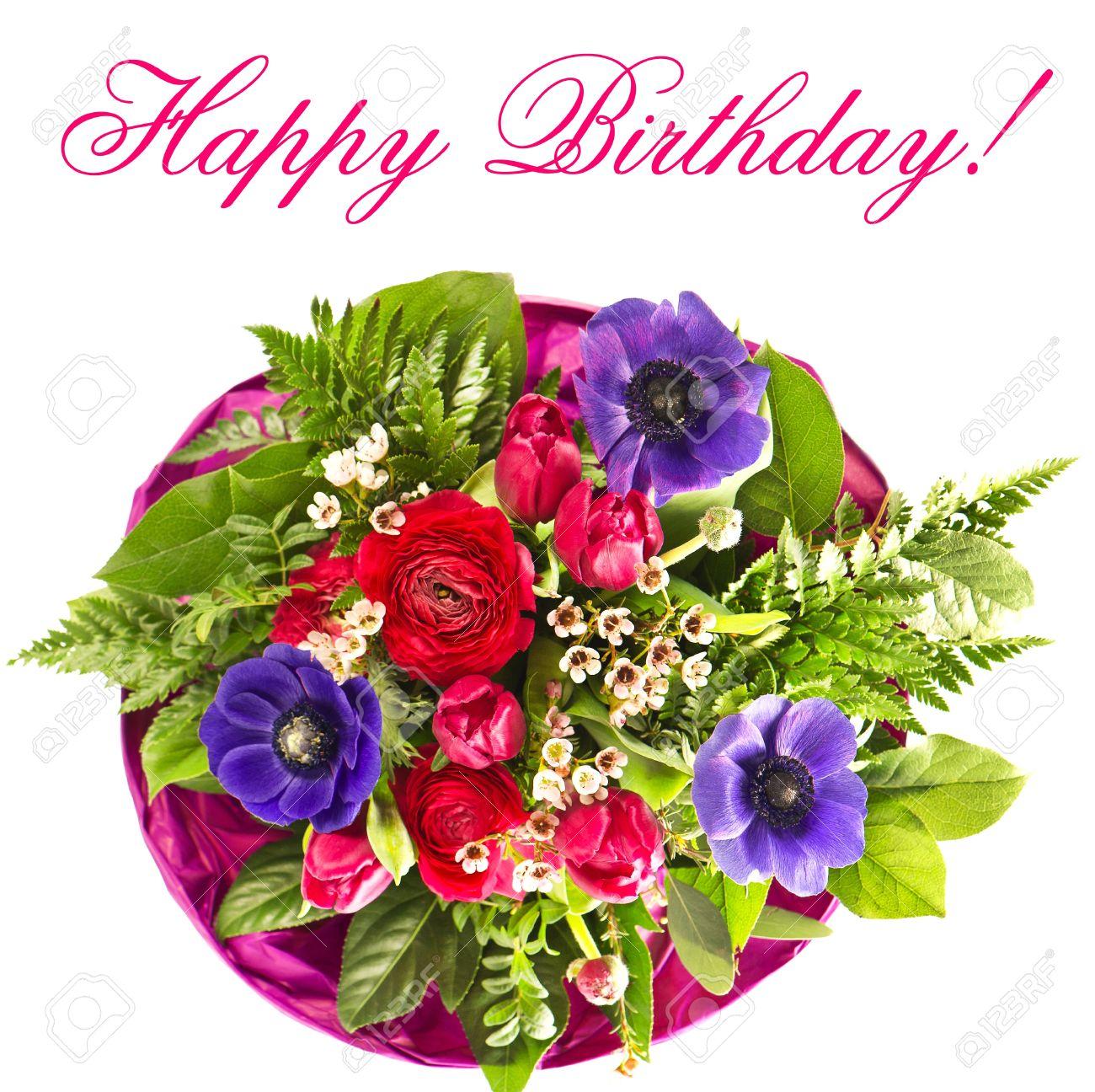 Le Bouquet De Fleurs Colorées Bon Anniversaire Concept De Carte