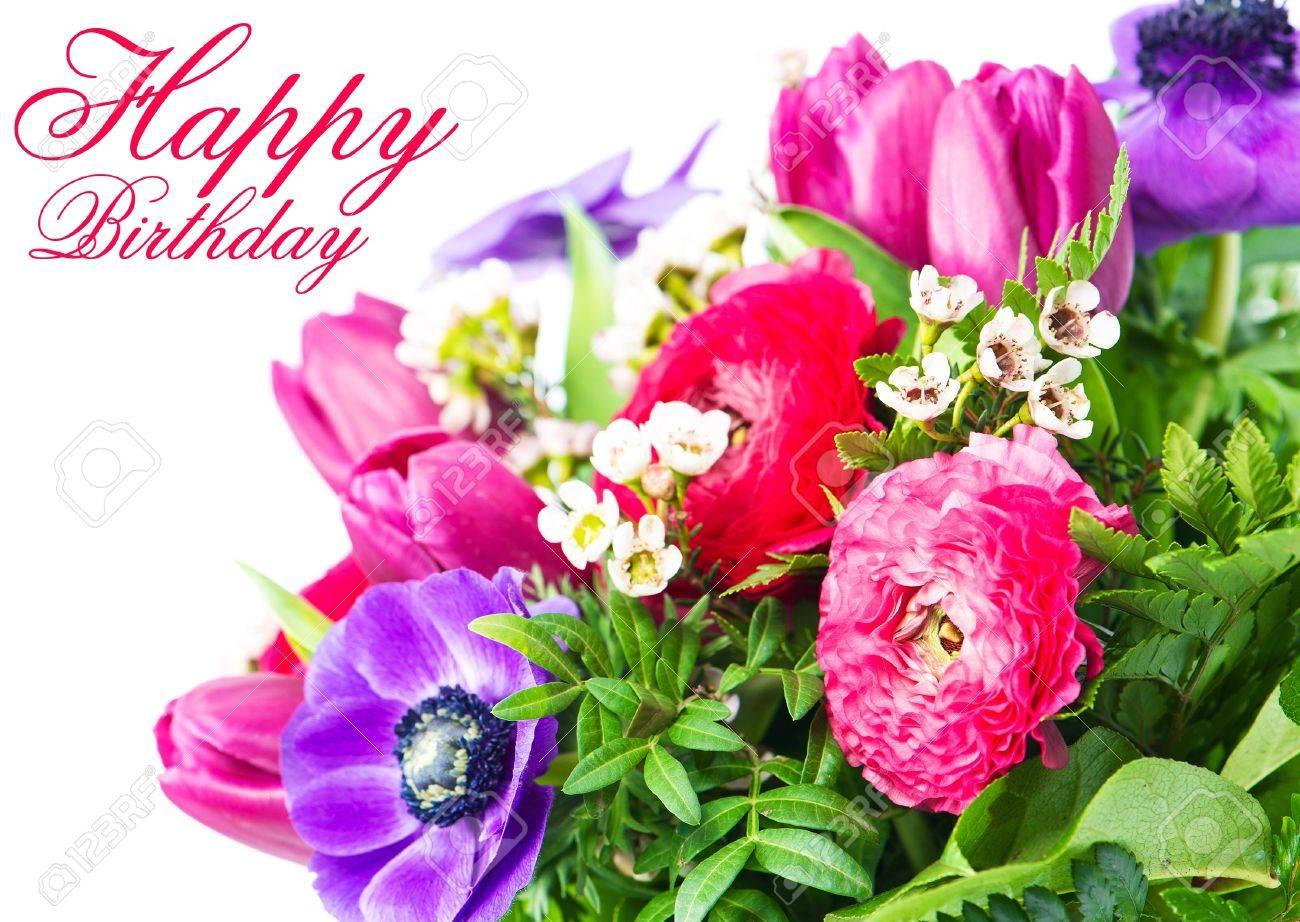Bon Anniversaire Carte Avec Des Fleurs Colorées