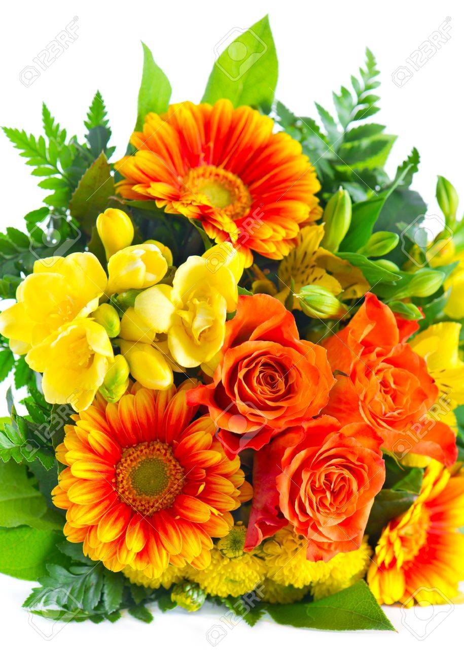 Colorful Flowers Bouquet. Roses And Gerbera With Green Foliage ...