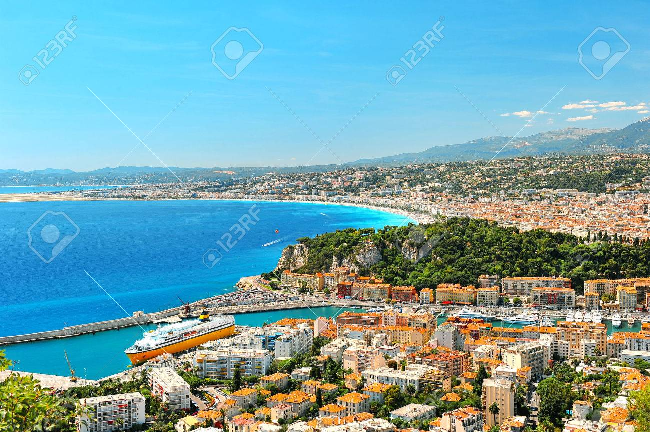 Panoramic view of Nice, mediterranean resort, Cote d - 24279920
