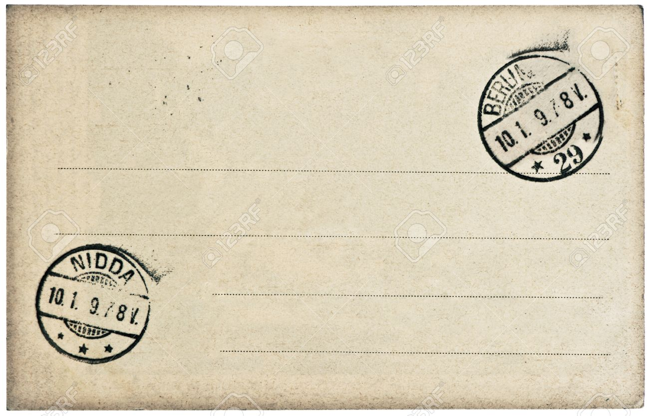 empty vintage postcard background with postmark and stamp stock photo 24251952