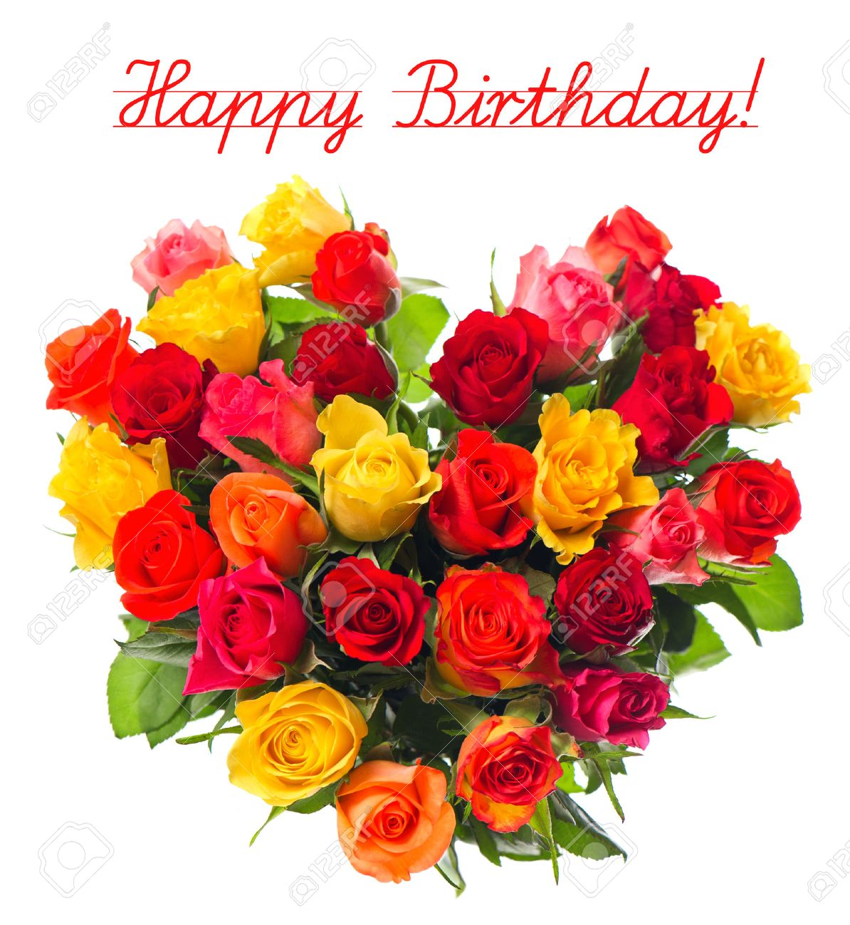 Happy Birthday Card Concept Bouquet Of Colorful Assorted Roses In Heart Shape On White Background
