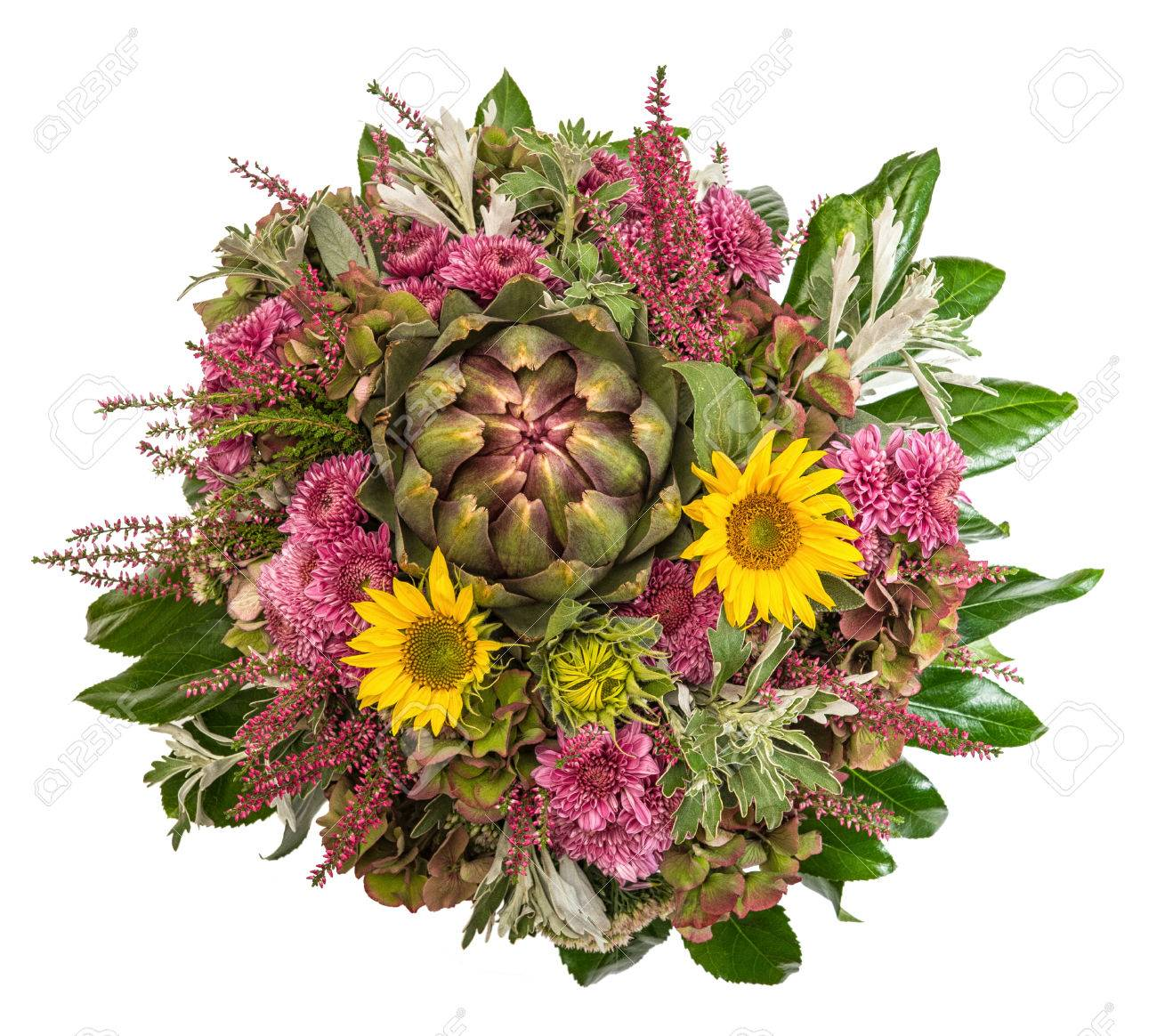 Flores De Otoño Ramo Arreglo Floral Con Girasoles Crisantemos Alcachofa