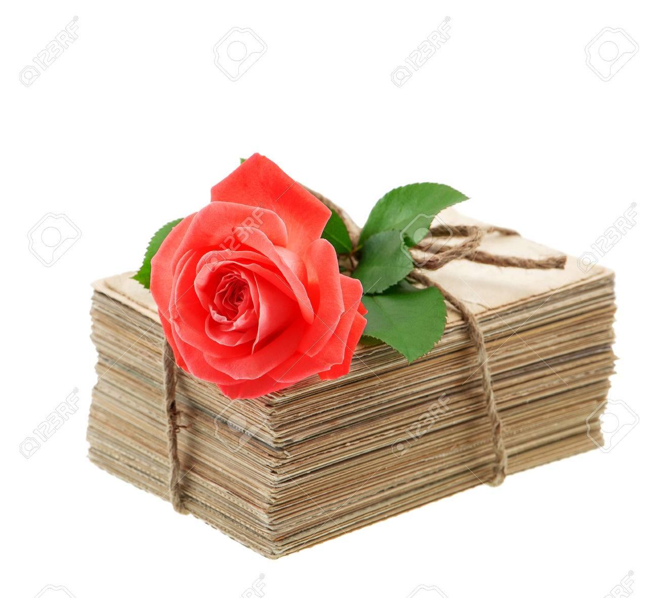 Pile De Vieilles Lettres D Amour Et Des Cartes Postales Avec Des