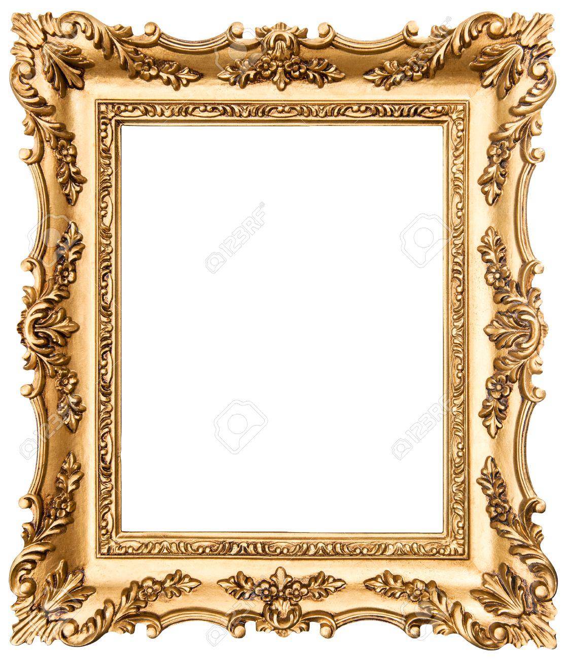 Vintage-goldenen Bilderrahmen Auf Weißem Hintergrund Lizenzfreie ...