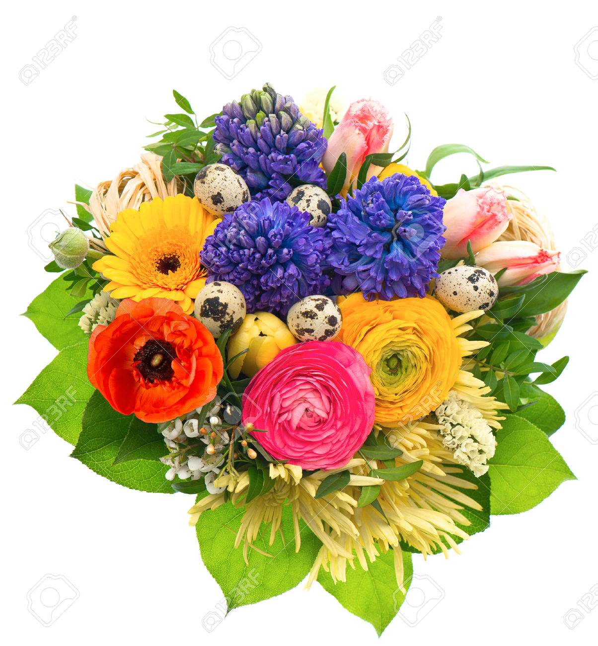 Beautiful Easter Bouquet Of Colorful Spring Flowers With Birds