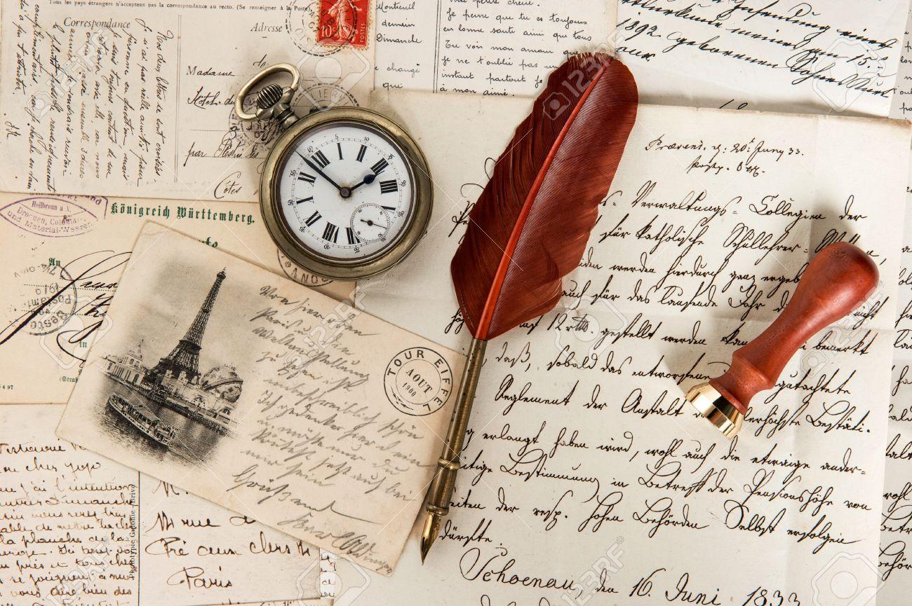 Vieilles Lettres Cartes Postales Francaises Stylo Plume Antique Et