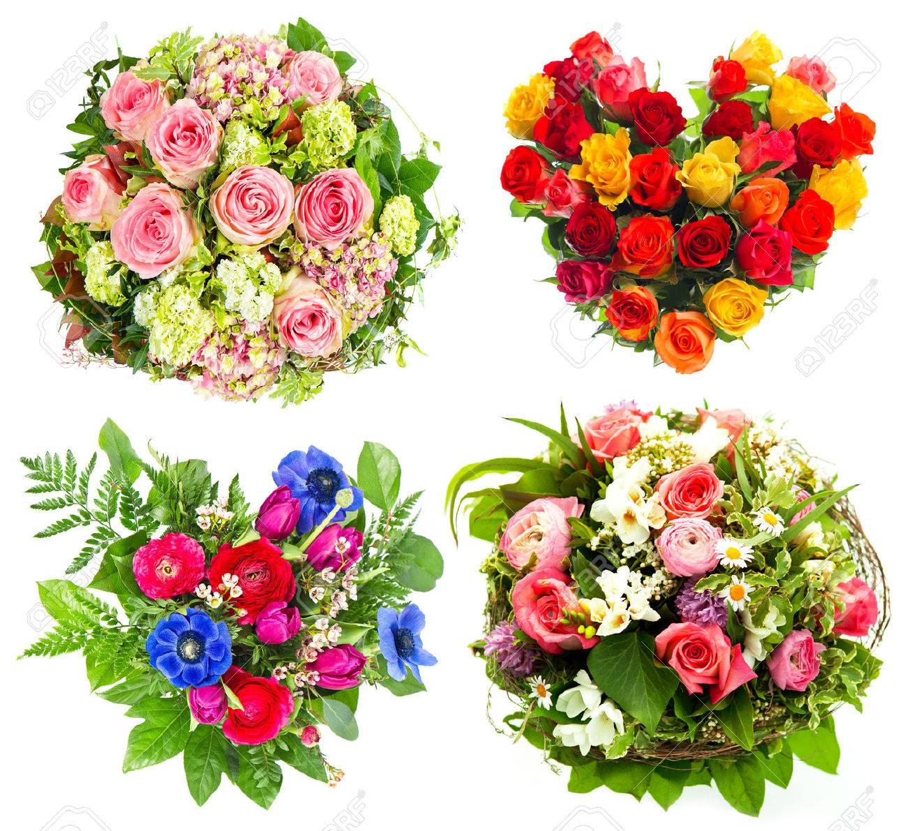 Four colorful flowers bouquet for birthday wedding mothers stock four colorful flowers bouquet for birthday wedding mothers day valentines day roses arrangement izmirmasajfo