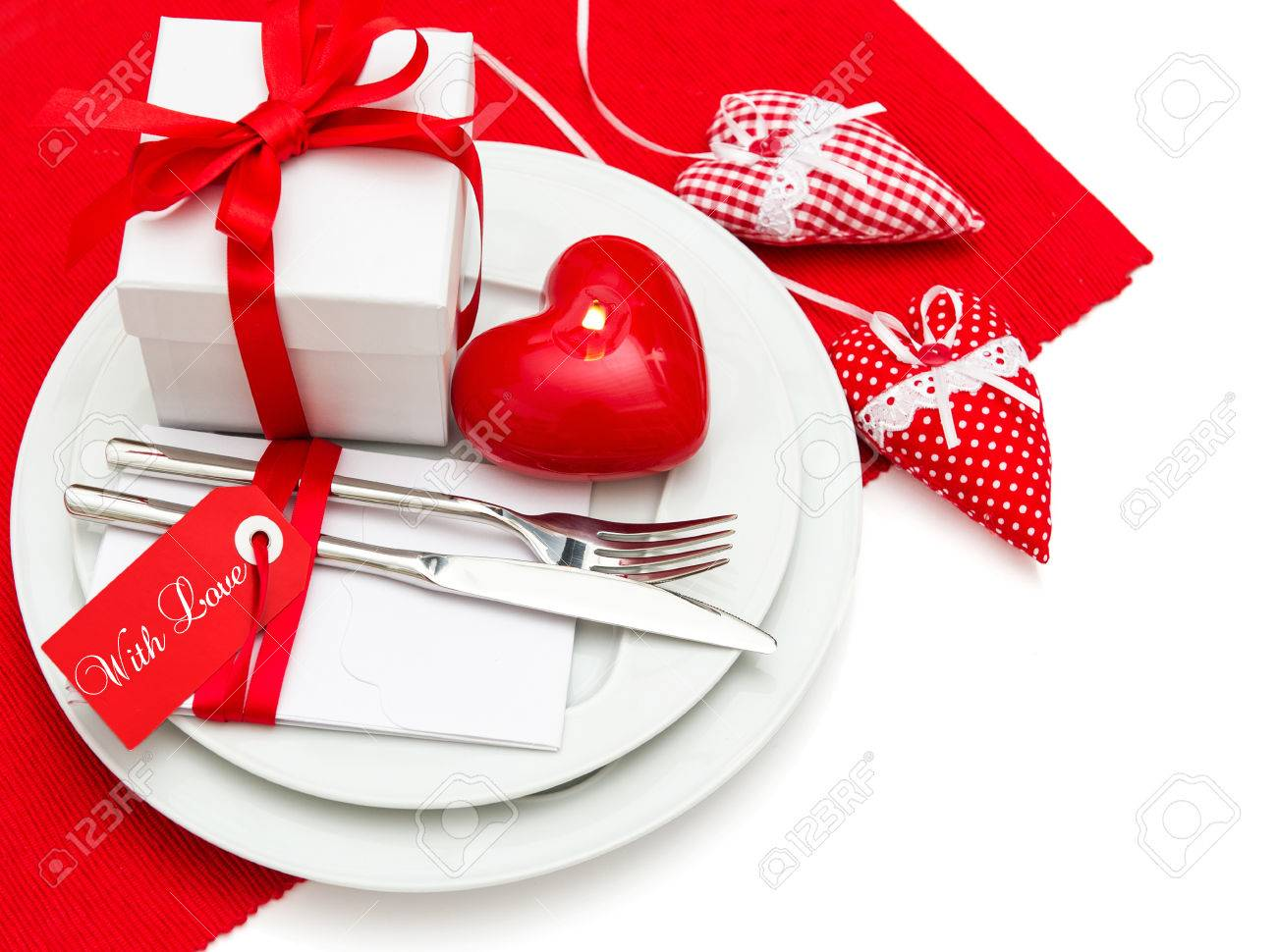 Candle Light Dinner Table Setting Part - 36: Valentines Day Romantic Candle Light Dinner Table Place Setting Decoration  In Red And White With Hearts