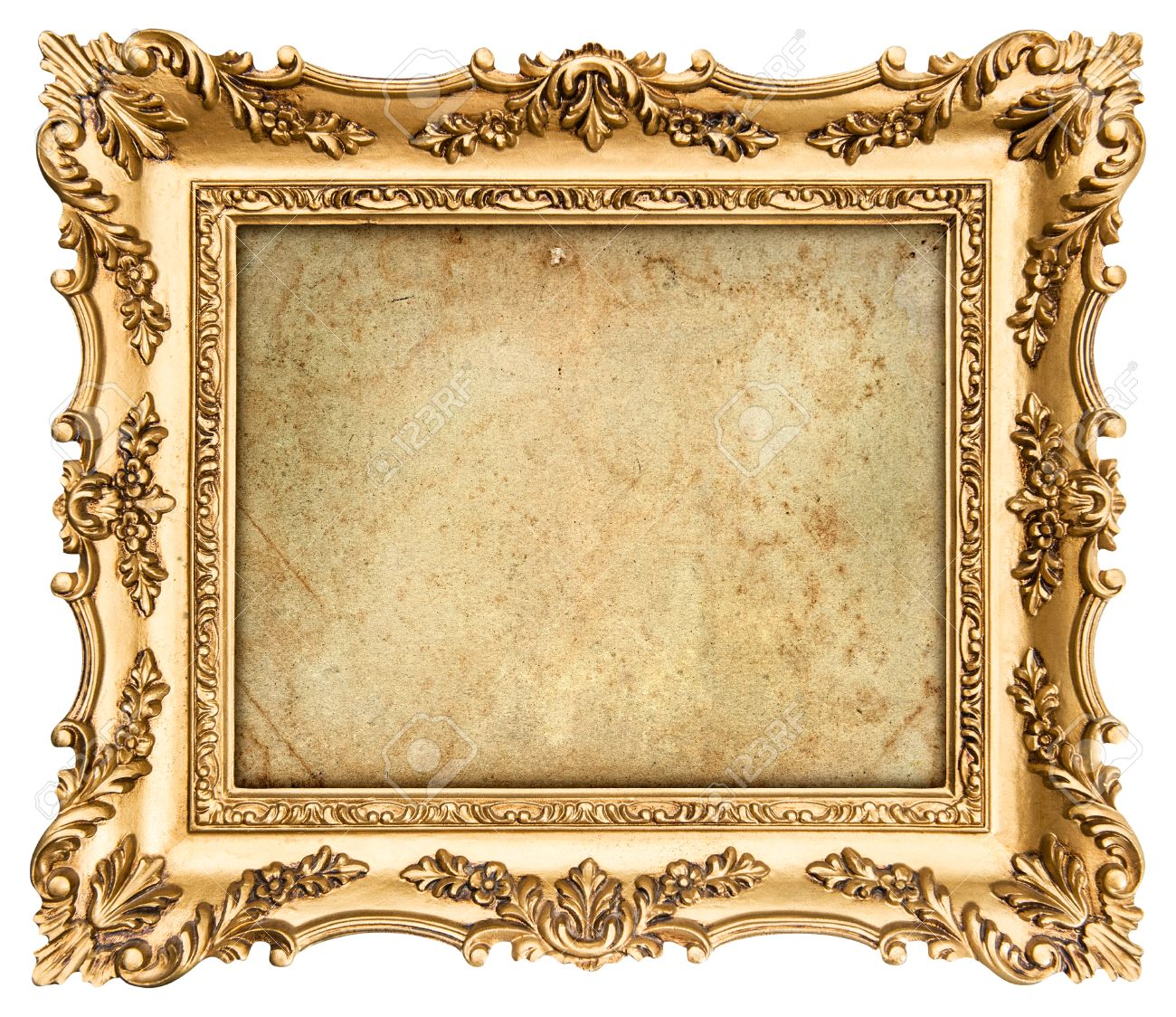 Stock Photo - old golden frame with empty grunge canvas for your picture,  photo, image beautiful vintage background