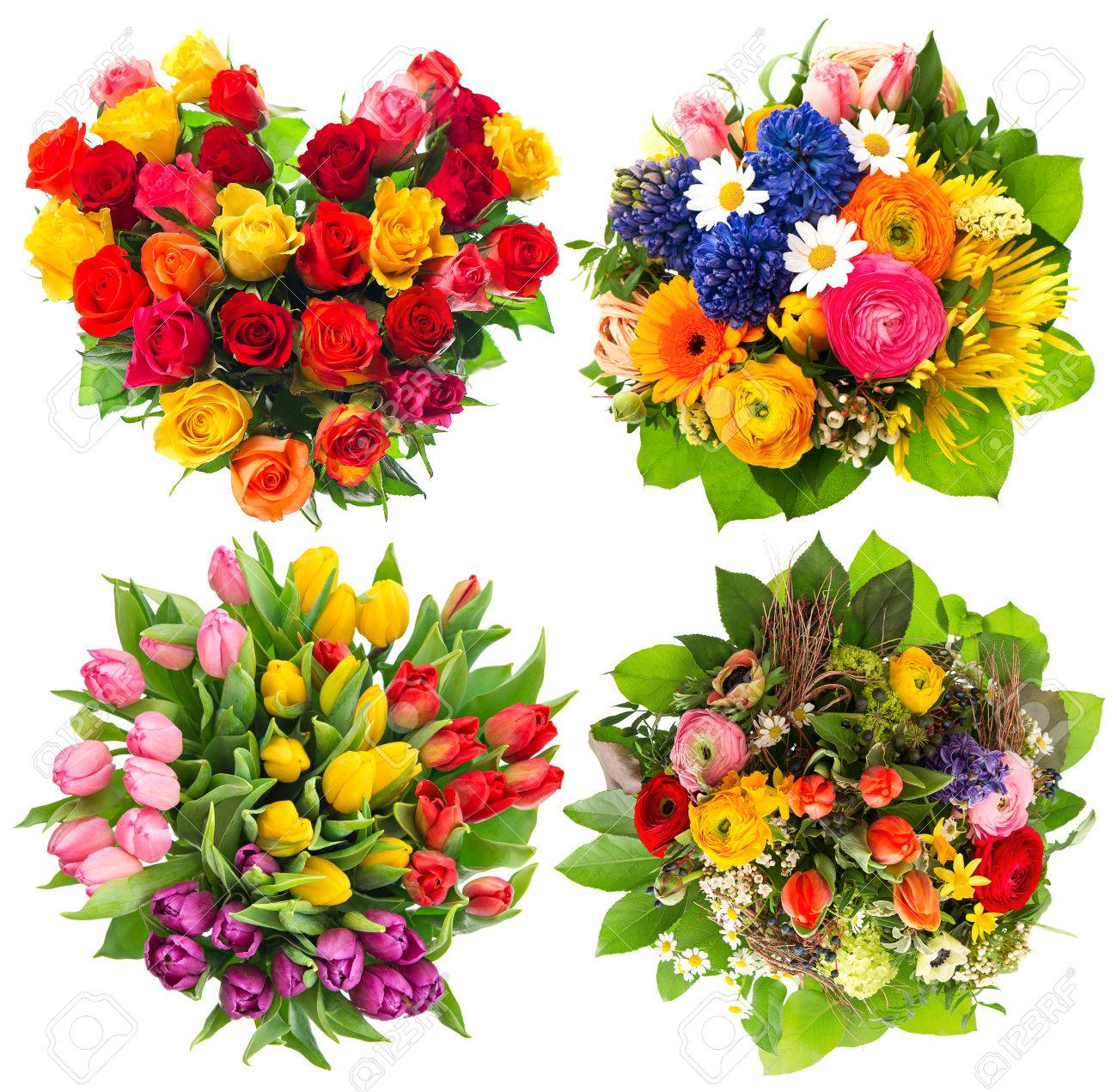 Flower bouquets for birthday valentines day mothers day easter flower bouquets for birthday valentines day mothers day easter top view of four izmirmasajfo