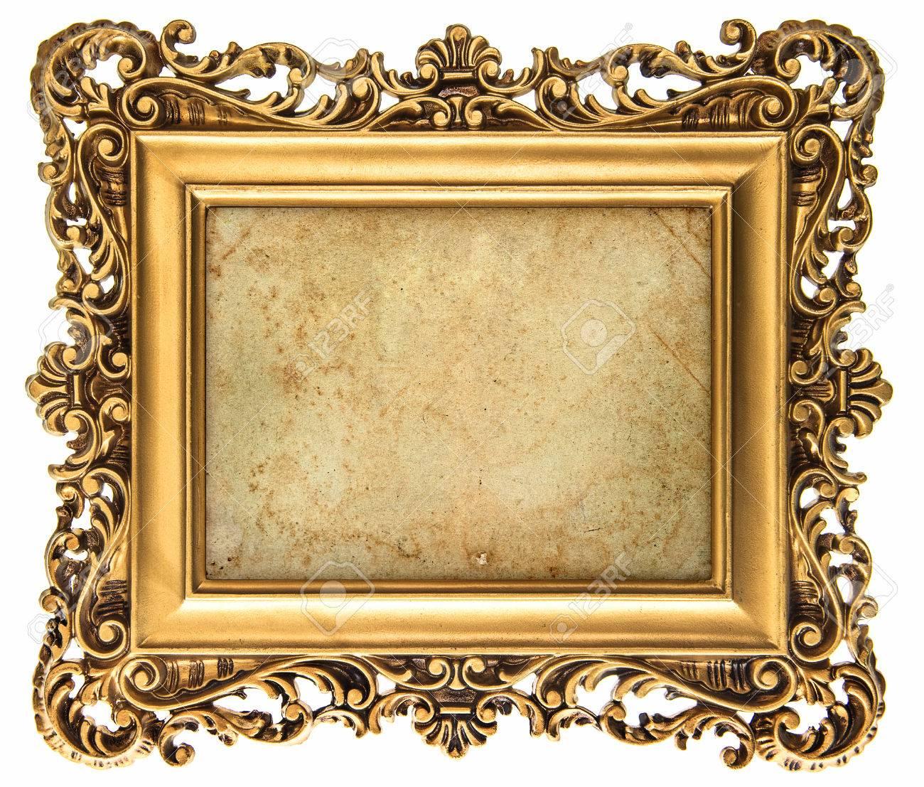 Barock-Stil Goldenen Bilderrahmen Isoliert Auf Weißem Hintergrund ...