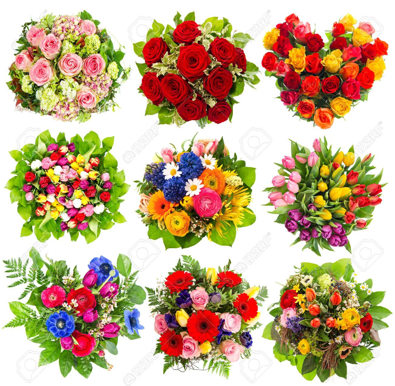 Nine Colorful Flowers Bouquet For Birthday, Wedding, Mothers.. Stock ...