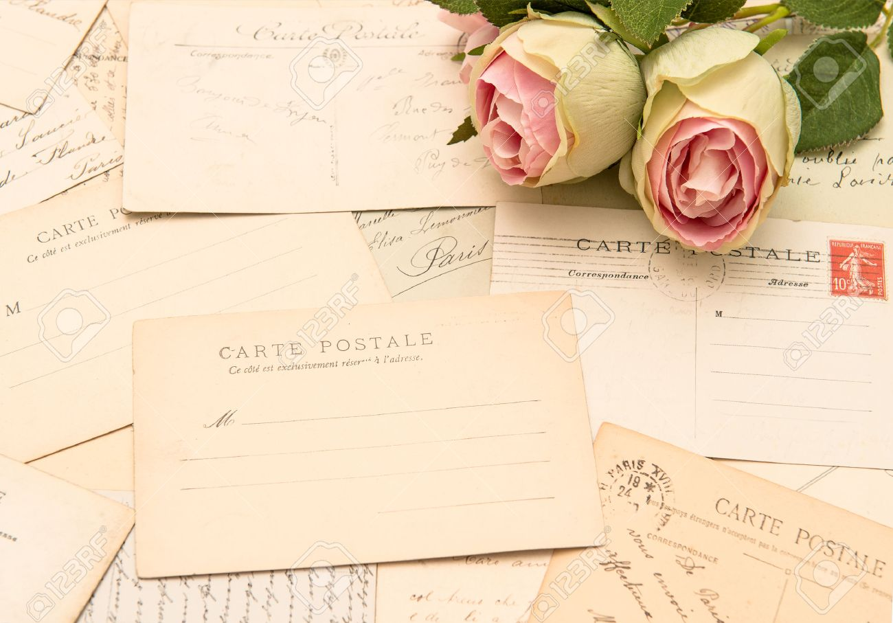 stock photo vintage postcards and soft rose flowers old love letters romantic still life