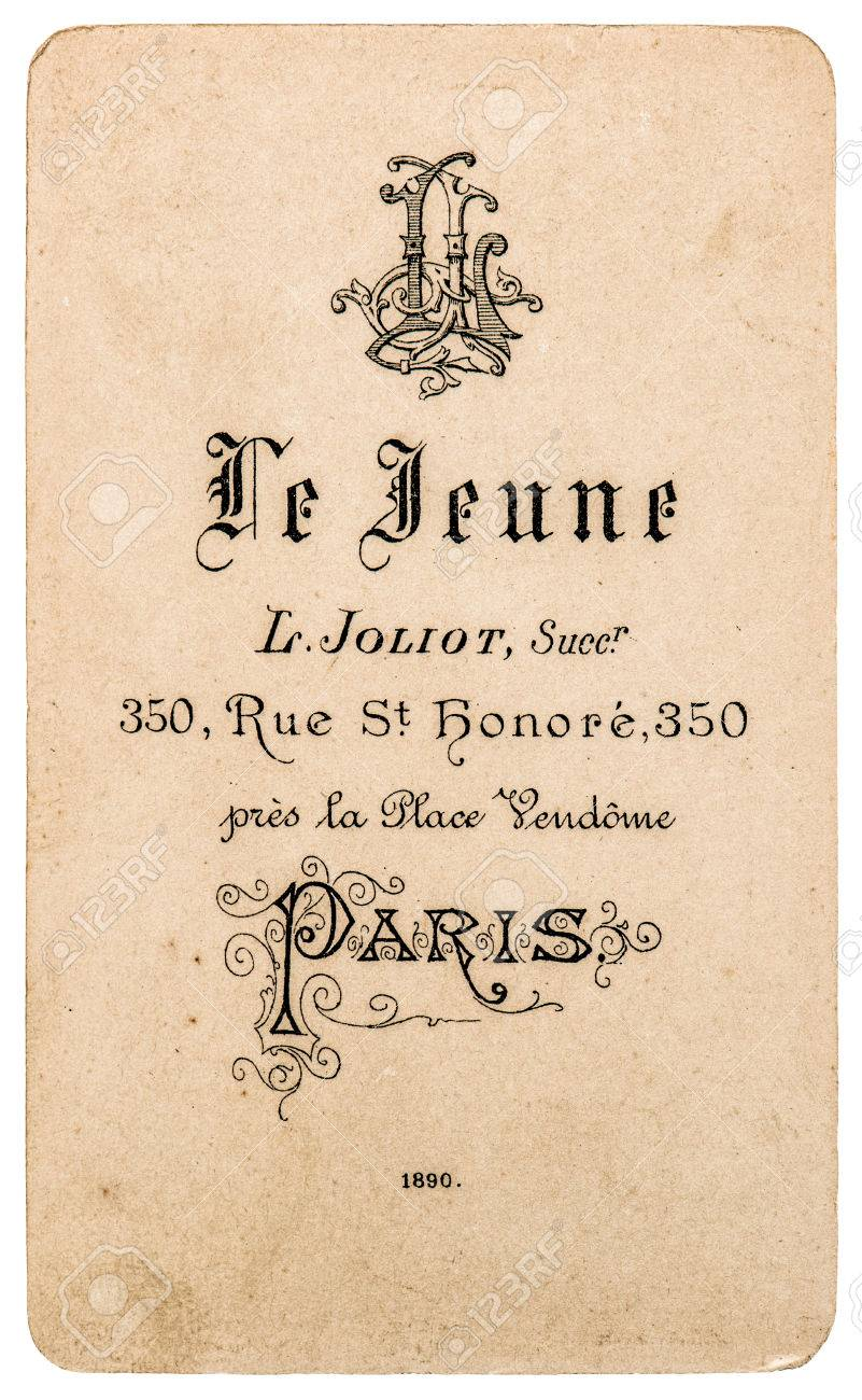Antique French Carte De Visite From 1890 Rare Vintage Business Card Stock Photo
