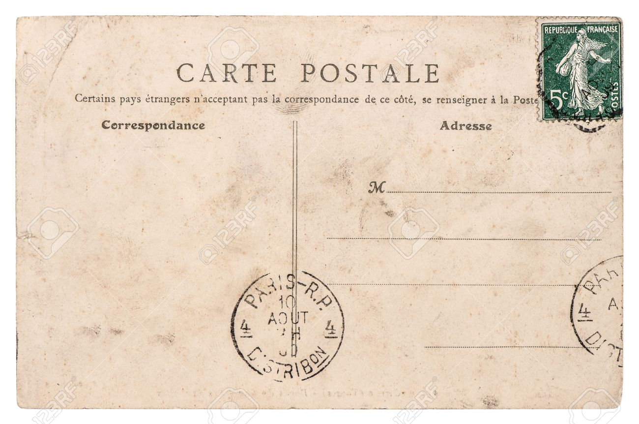 Carte Postale Retro empty antique french postcard from paris vintage sentimental.. stock