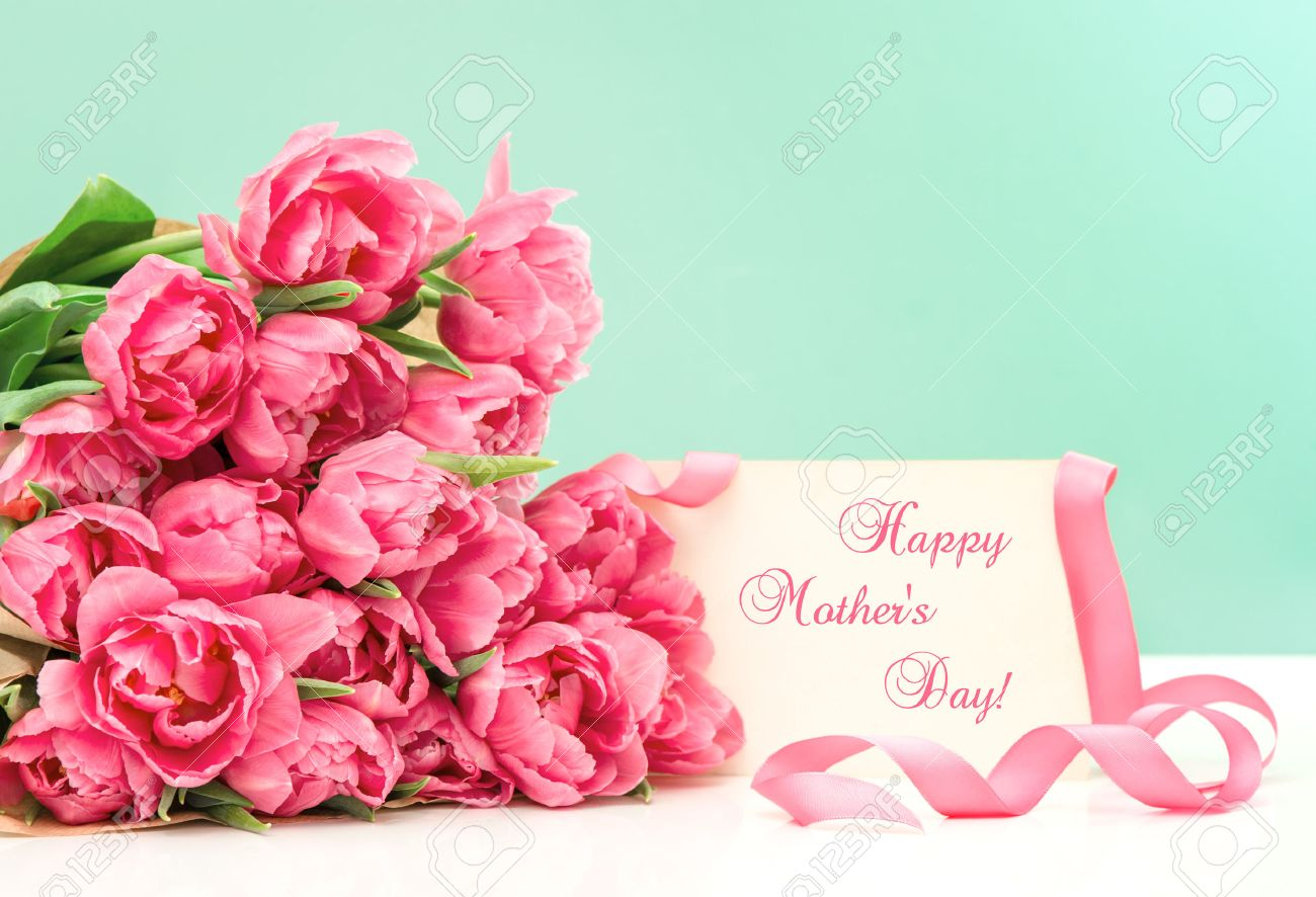 Pink tulips and greeting card with sample text happy mother stock pink tulips and greeting card with sample text happy mother stock photo 29624849 m4hsunfo
