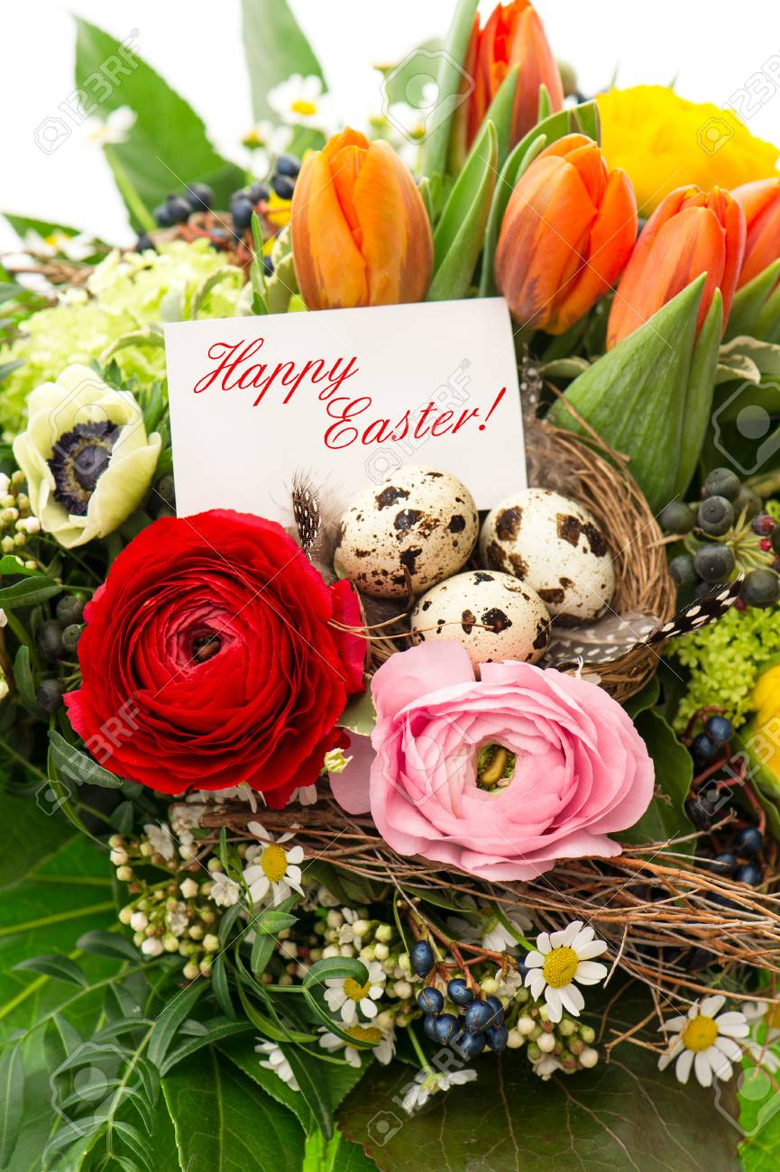 Colorful Easter Arrangement With Eggs Decoration And Greeting Stock Photo Picture And Royalty Free Image Image 29664016