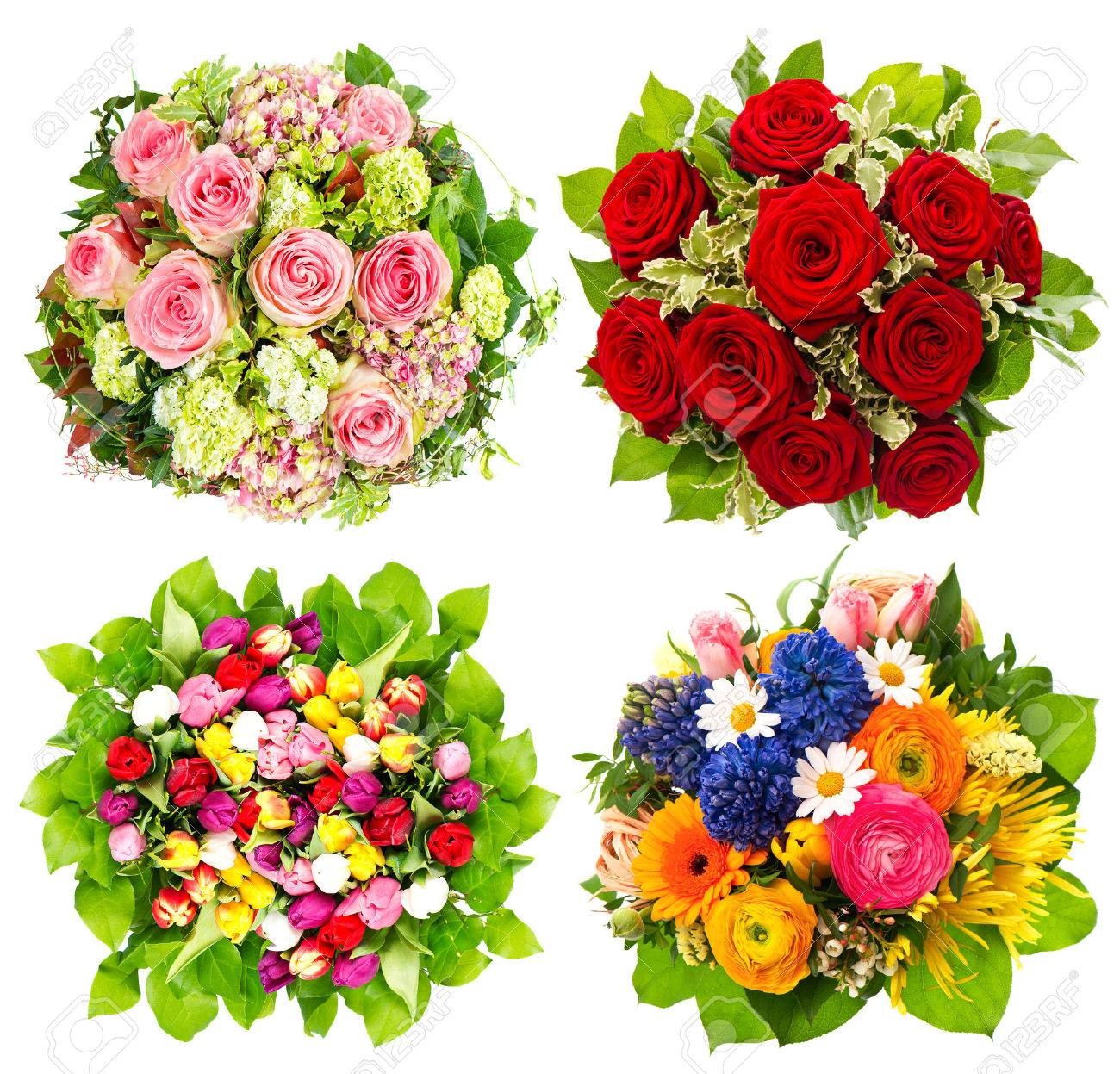 Four colorful flowers bouquet for birthday wedding mothers stock four colorful flowers bouquet for birthday wedding mothers day easter stock photo izmirmasajfo Image collections
