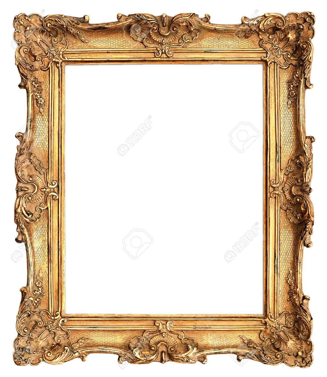 Antique Golden Frame Isolated On White Background Stock Photo ...