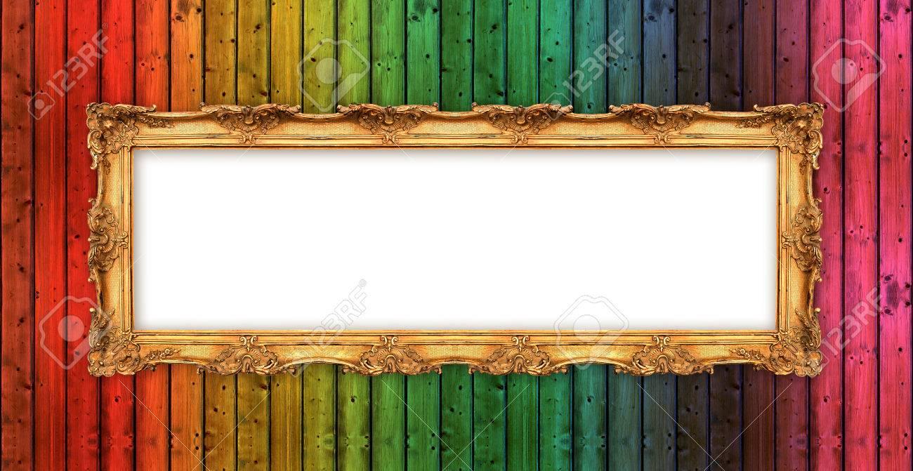 Lang Alten Goldenen Rahmen über Bunte Holzwand Schöne Vintage Mit ...