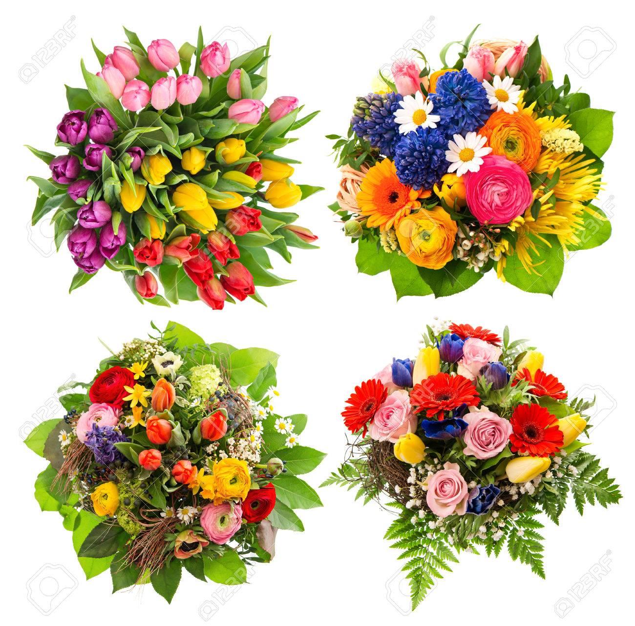 Vue De Dessus De Quatre Bouquets De Fleurs Colorées Pour Anniversaire Mariage Fête Des Mères Des Arrangements Multicolores De Pâques