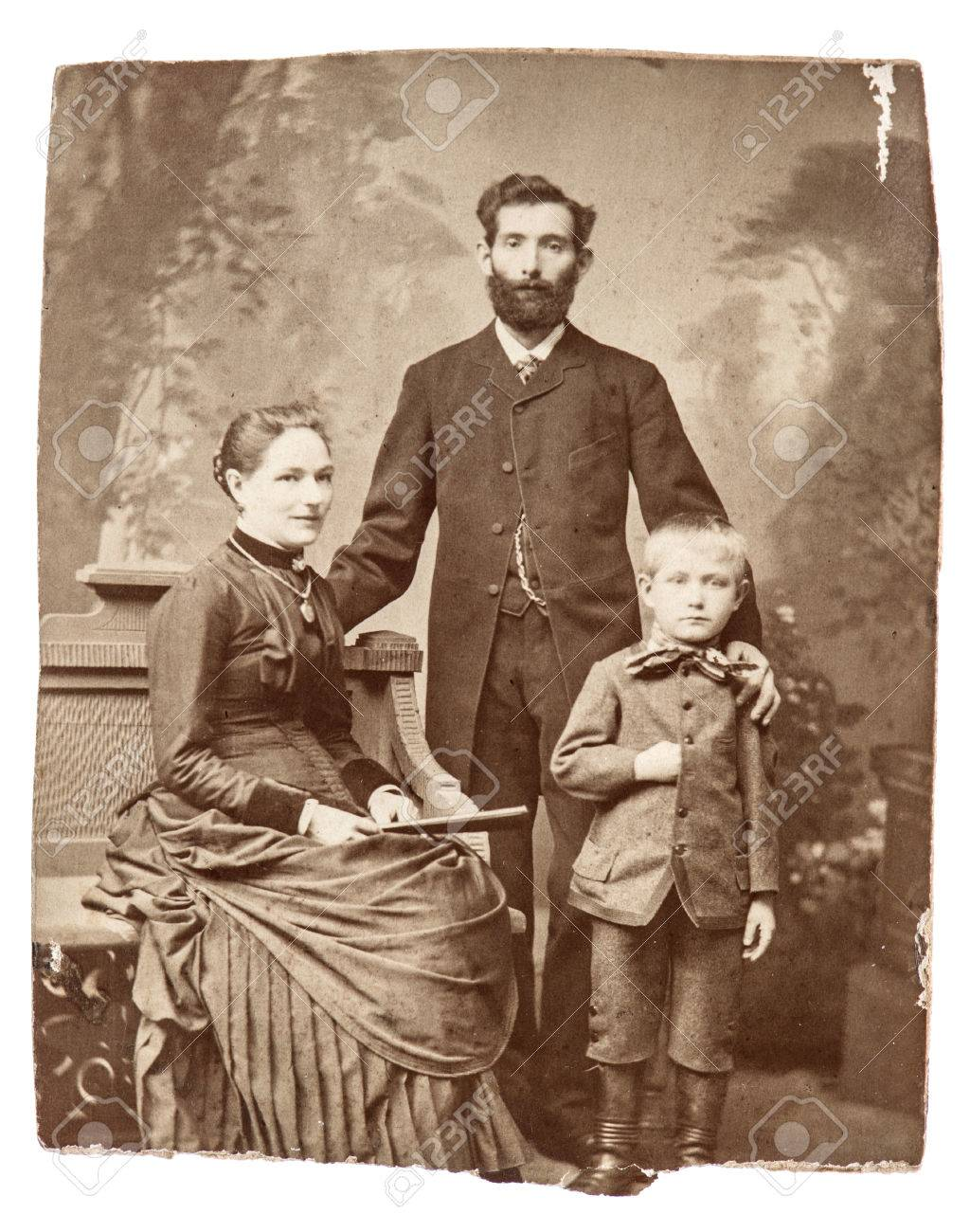 BERLIN, GERMANY - CIRCA 1860 Antique Family Portrait Of Mother ...