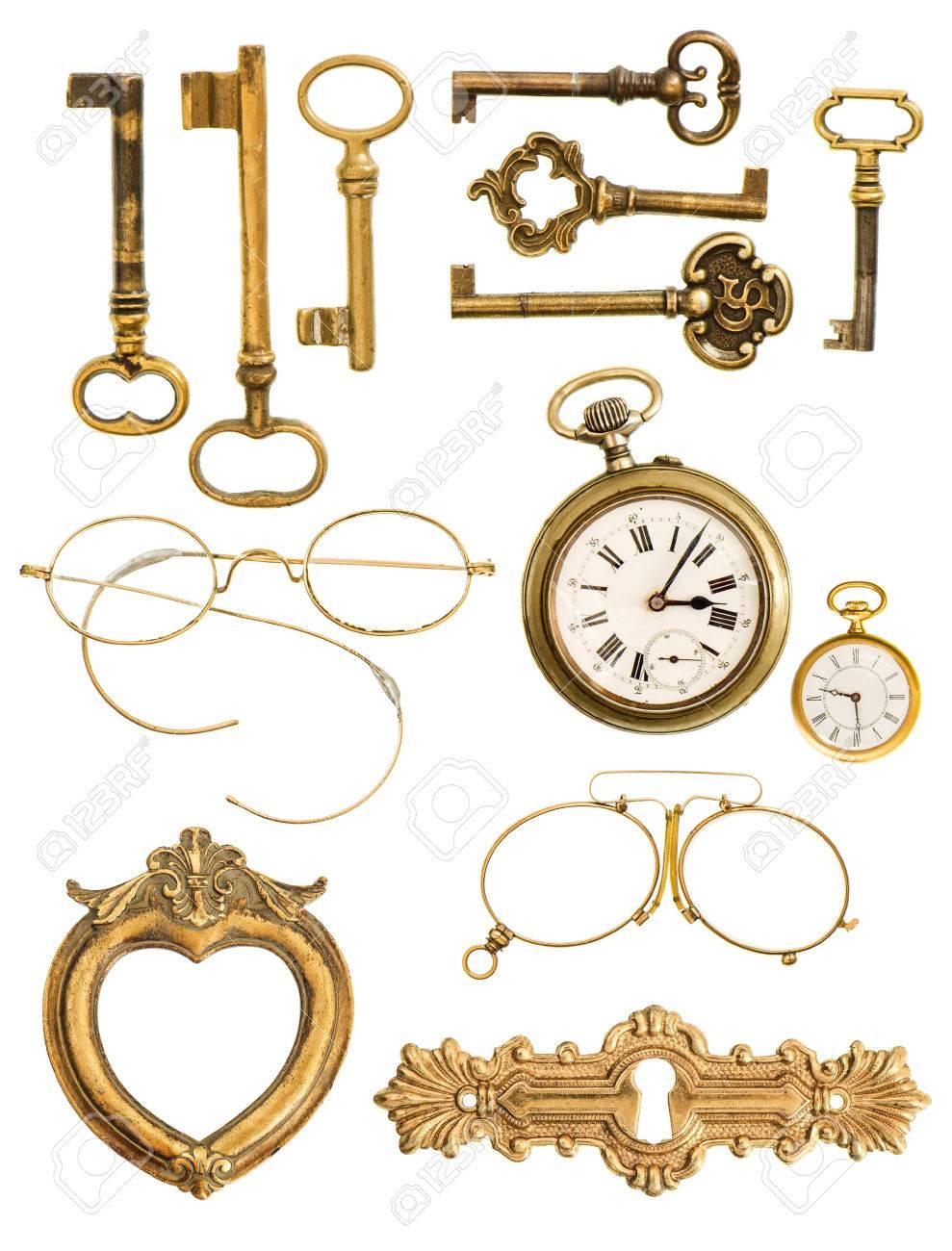 Sammlung Von Goldenen Vintage-Accessoires Antiken Schlüssel, Uhr ...