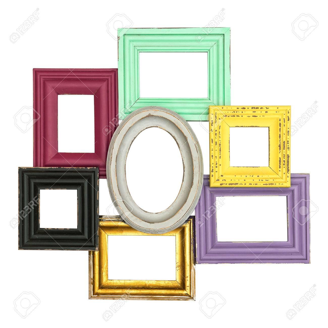 Vintage-Rahmen-Stil Isoliert Auf Weißem Hintergrund Multicolor ...