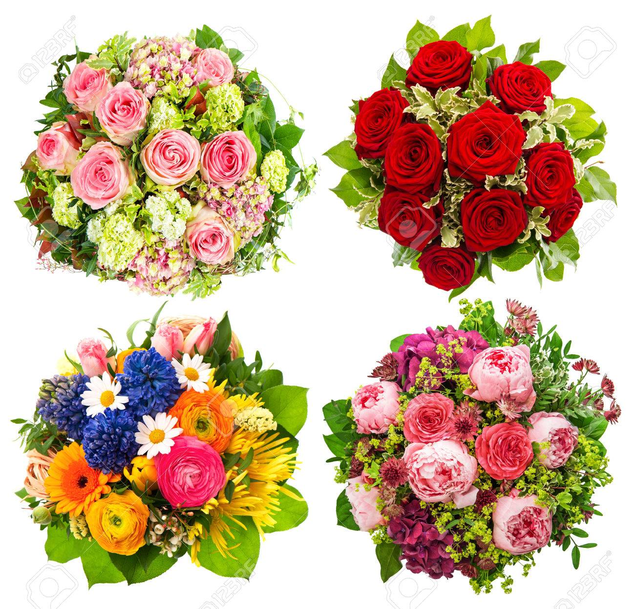 Four colorful flowers bouquet for birthday wedding mothers stock four colorful flowers bouquet for birthday wedding mothers day easter holidays and izmirmasajfo Image collections
