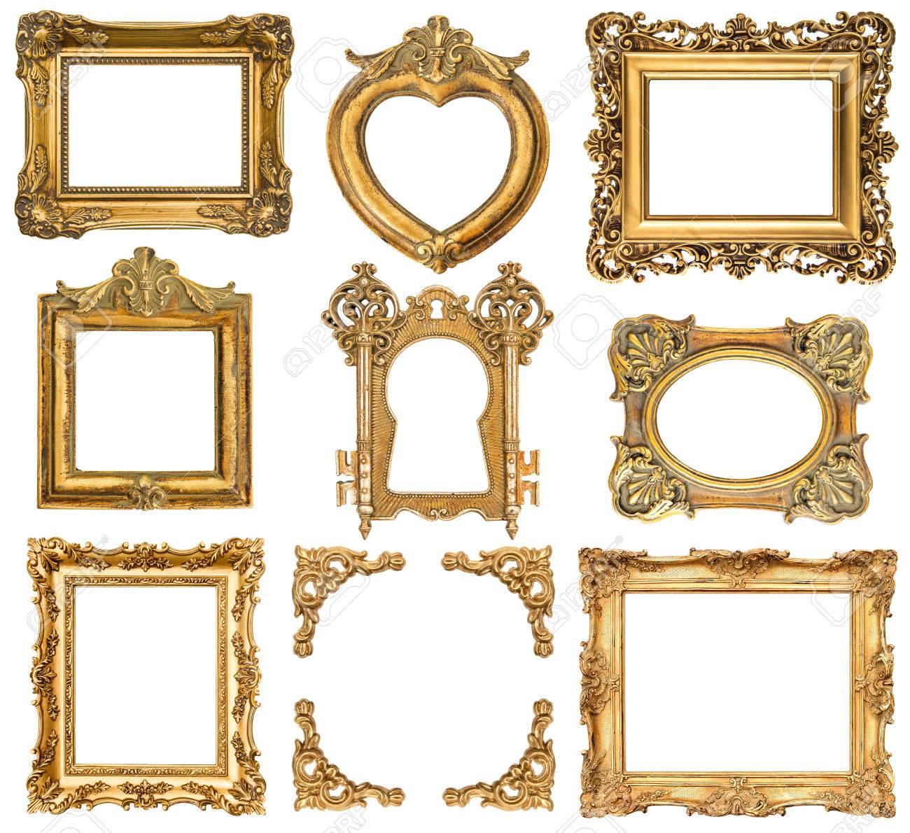 Conjunto De Marcos De Oro Aisladas En Blanco Antiguo Estilo Barroco ...