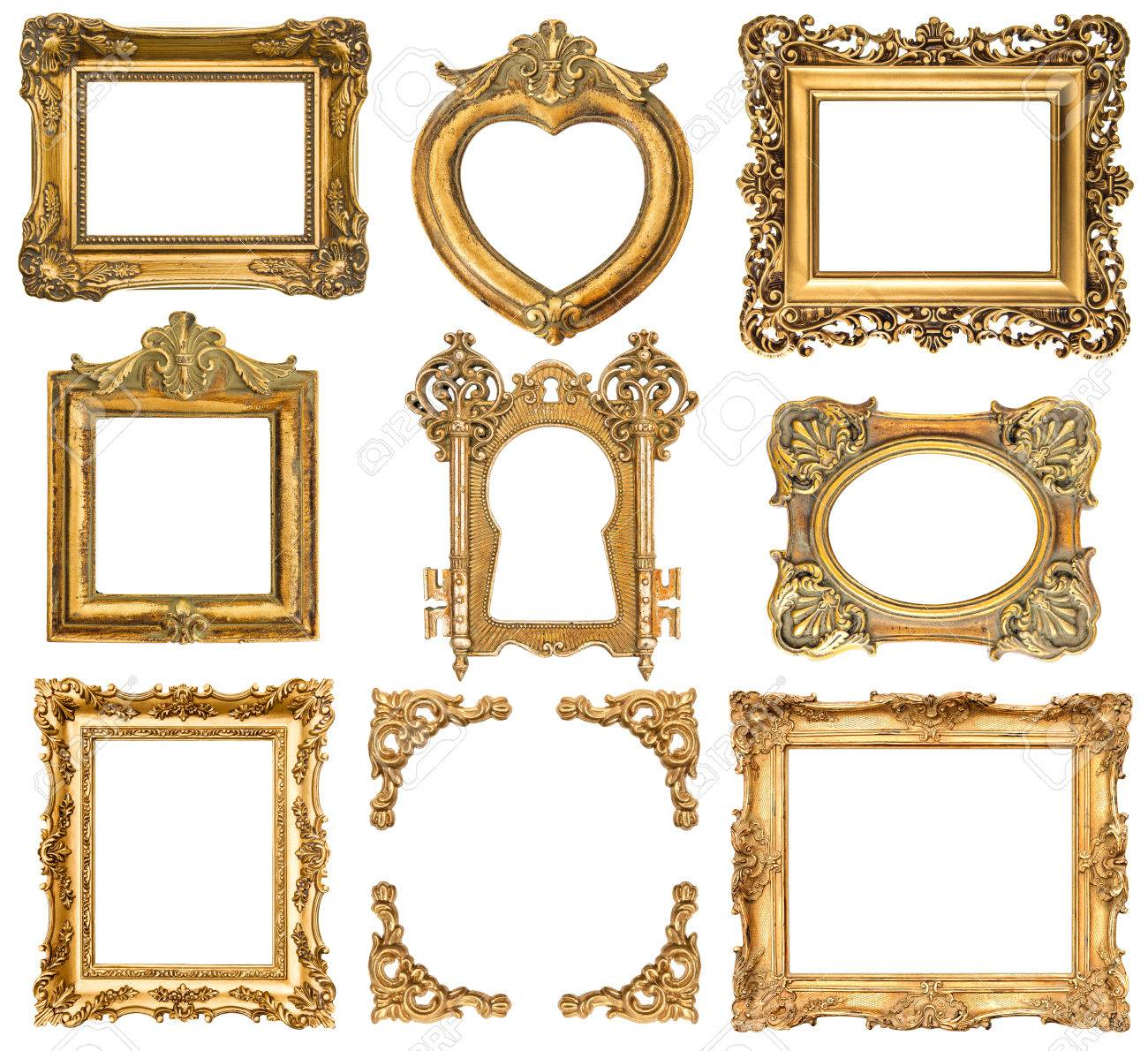 Set Of Golden Frames Isolated On White Baroque Style Antique.. Stock ...