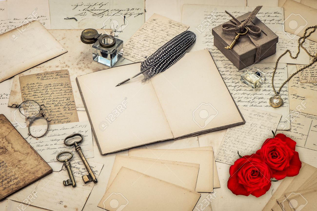diary book old love letters and red rose flowers nostalgic sentimental background retro