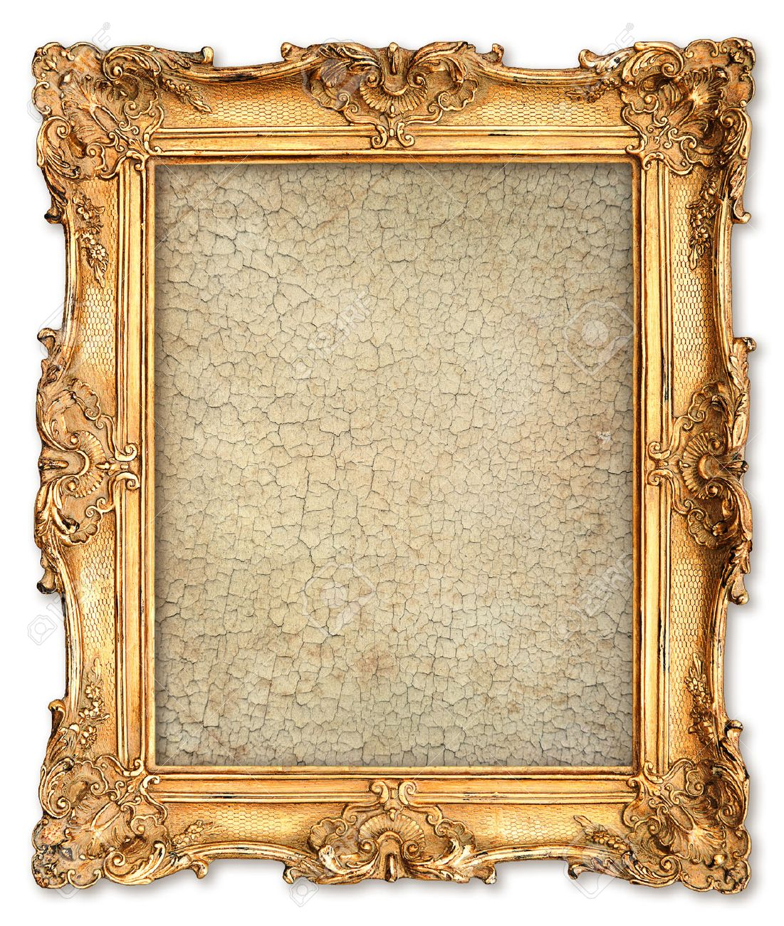 Stock Photo - old golden frame with empty grunge cracked canvas for your  picture, photo, image beautiful vintage background