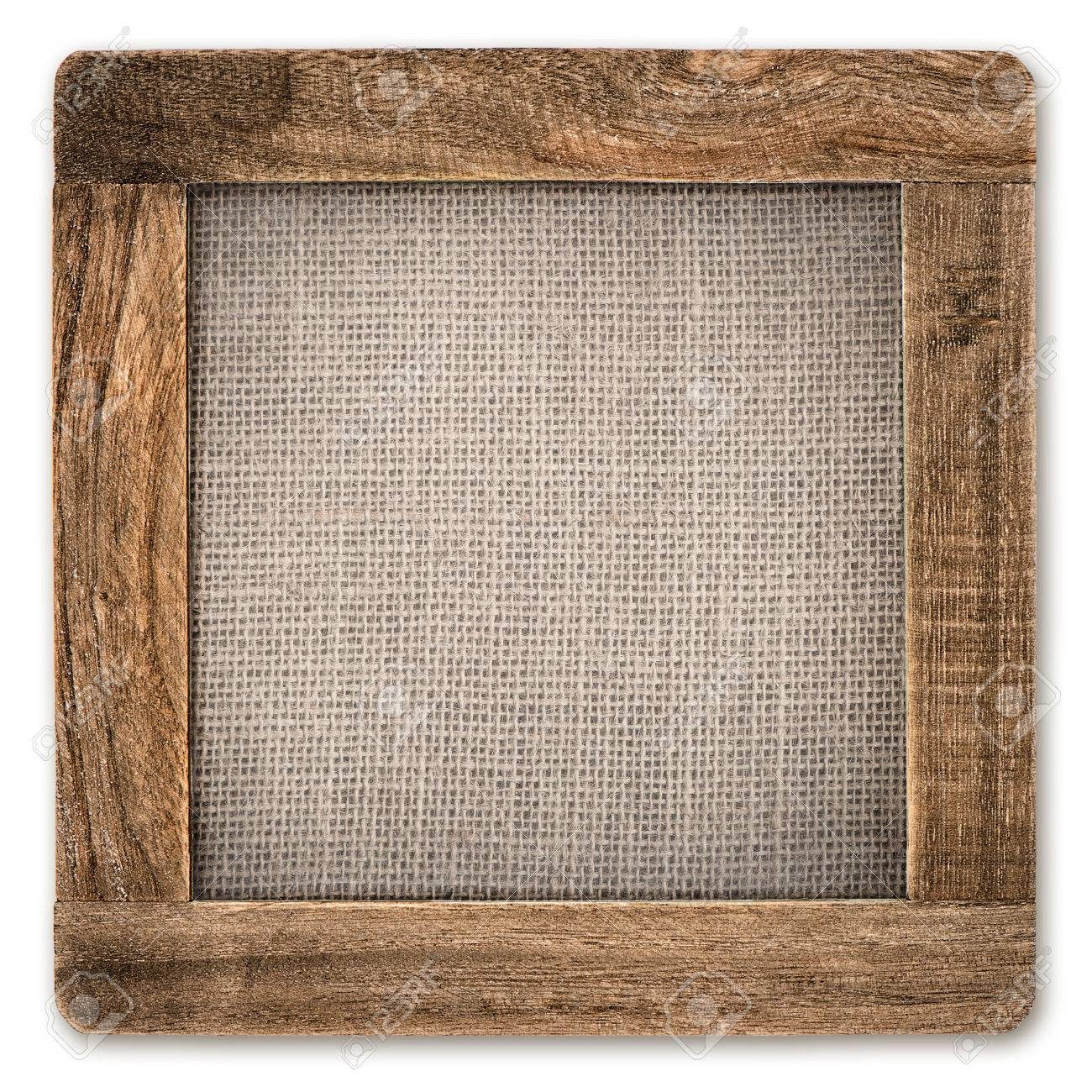 Vintage Rustic Wooden Frame With Canvas Isolated On White Background ...