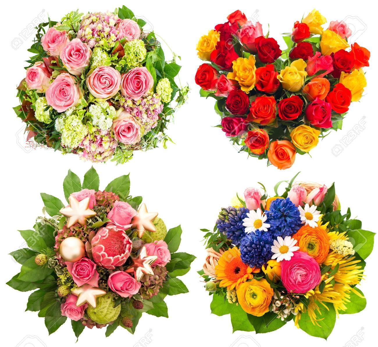 Quatre Fleurs Colorées Bouquet Pour Lanniversaire Mariage Fête Des Mères Saint Valentin Noël Nouvel An Arrangement De Roses