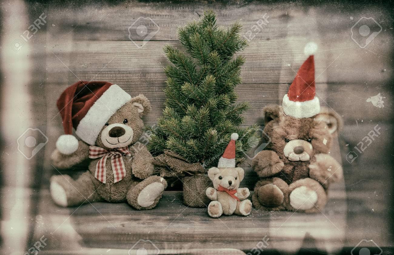 Nostalgic Christmas Decoration With Antique Toys Teddy Bear Family ...