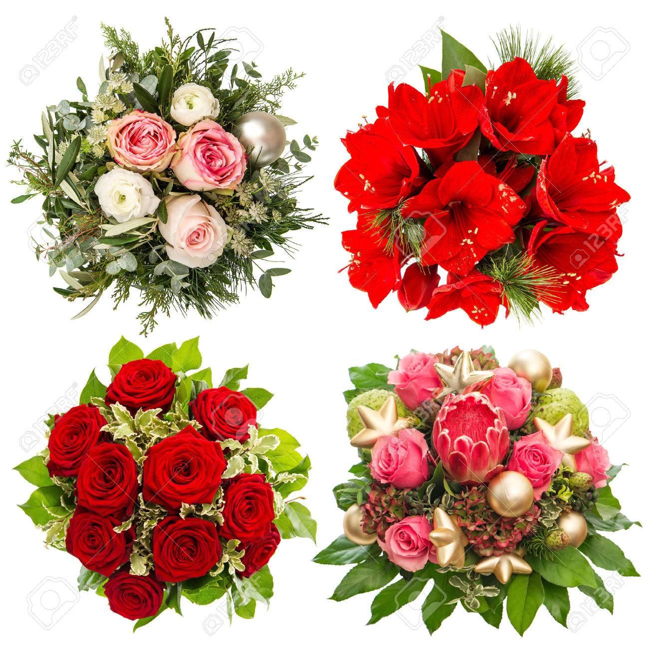 Vier Bunte Blumenblumenstrauß Für Weihnachten Und Neujahr. Rosen ...
