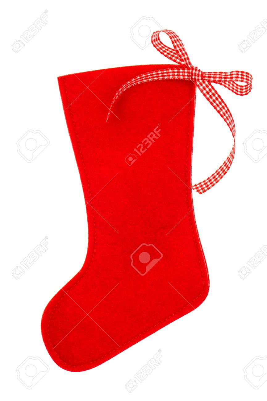 Rot Weihnachtsstrumpf Für Santas Geschenke Auf Einem Weißen ...