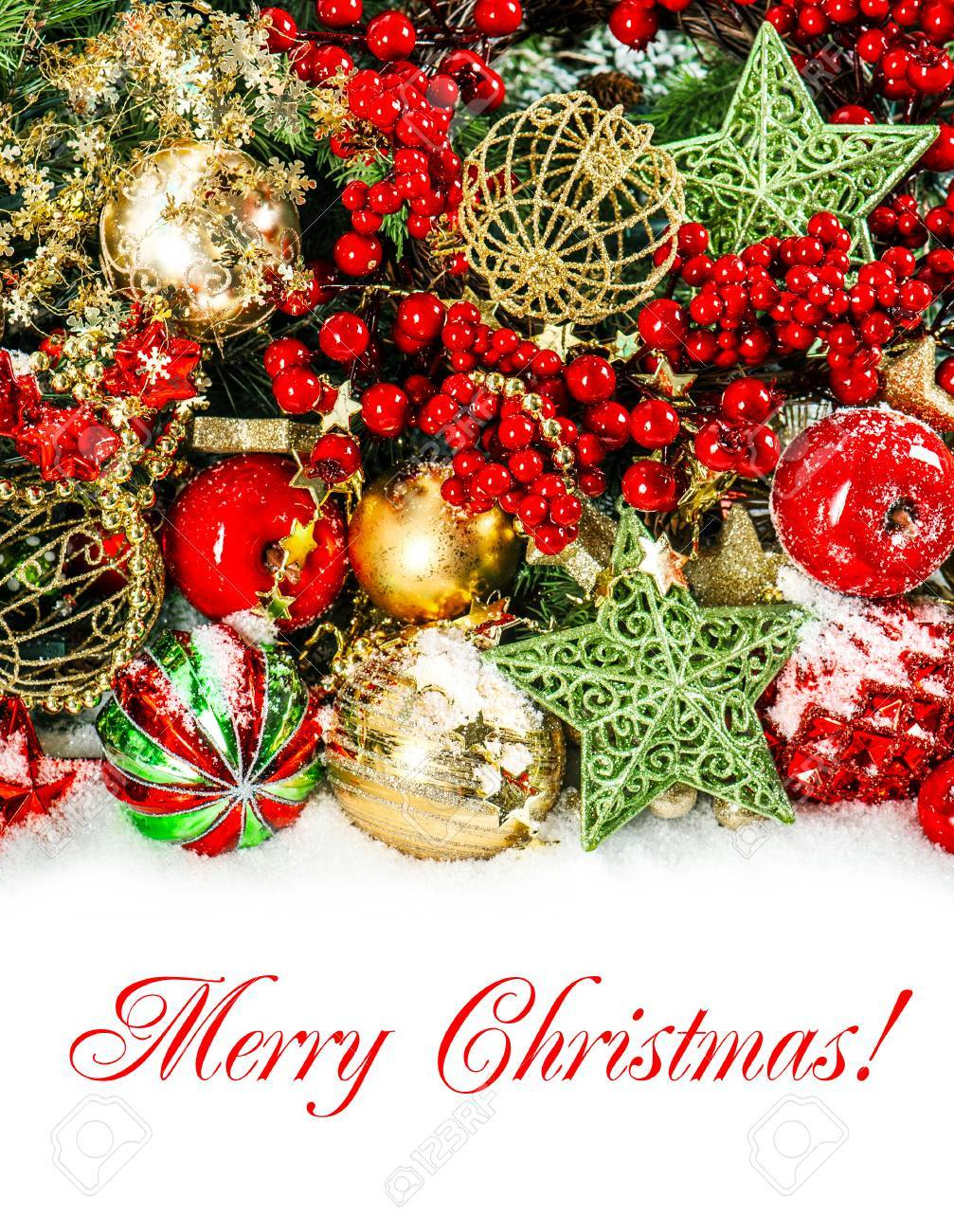 31909773 colorful christmas decorations in red gold green festive background with sample text merry christmas