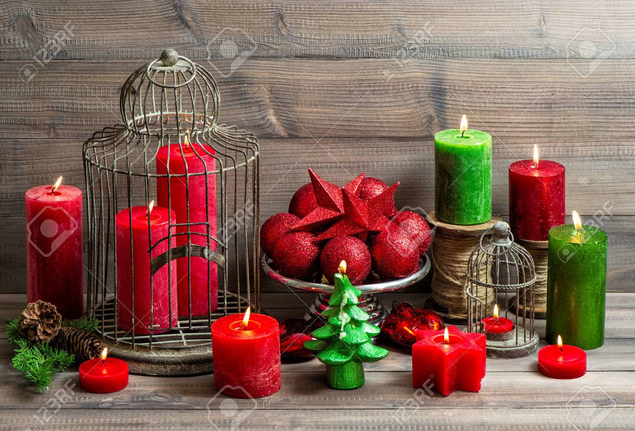 Vintage Christmas With Birdcage Burning Candles And Baubles