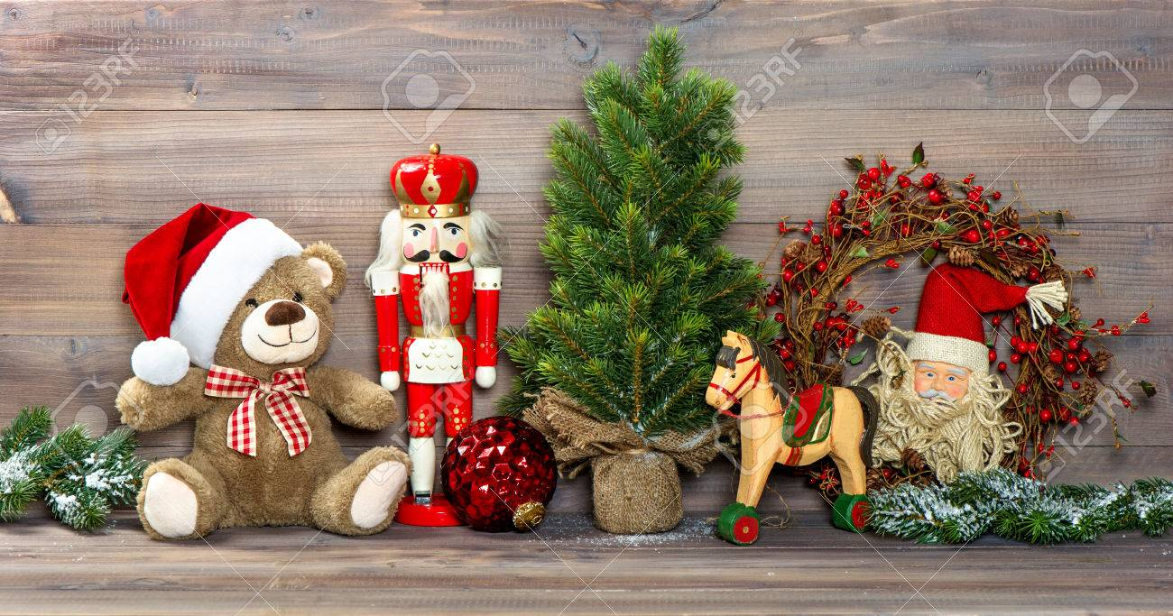 Nostalgic Christmas Decoration With Antique Toys Teddy Bear And ...