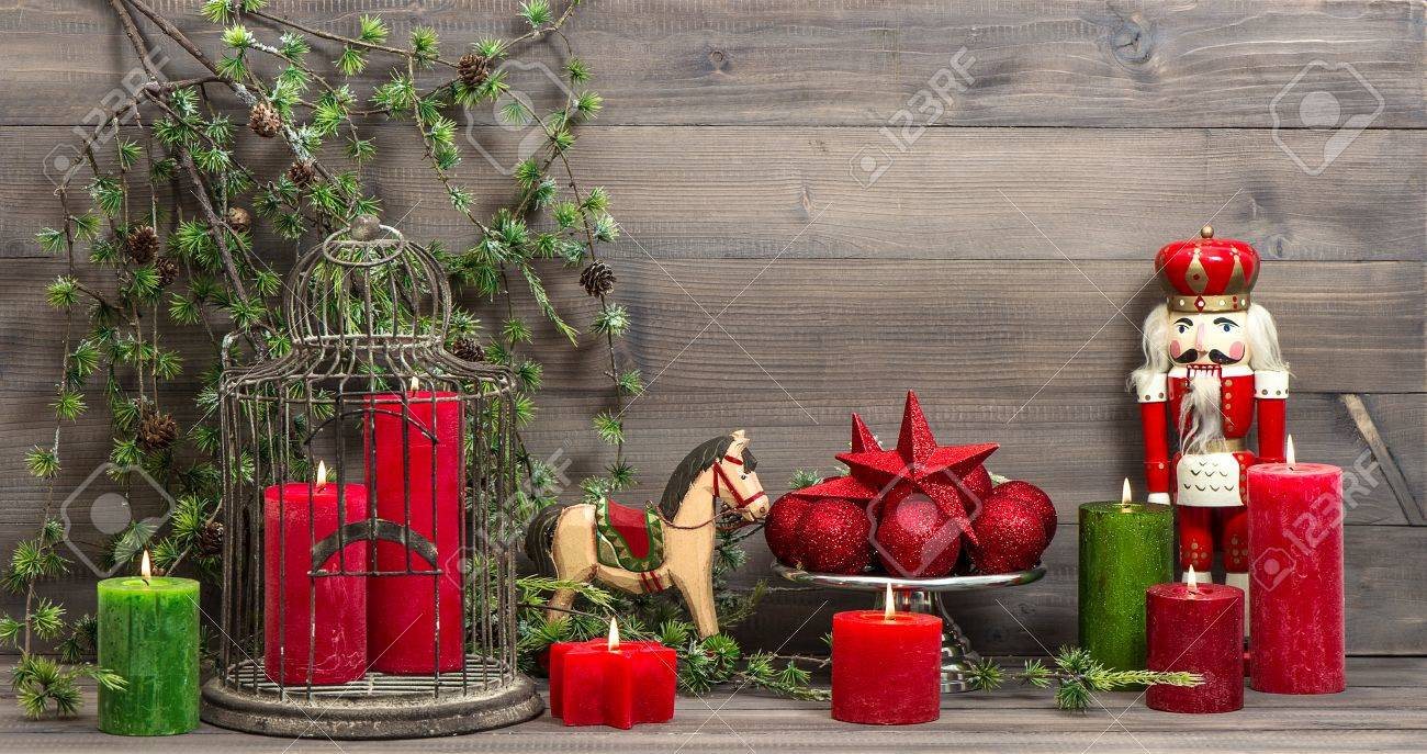 Vintage Christmas Decorations With Red Candles, Antique Toys.. Stock ...