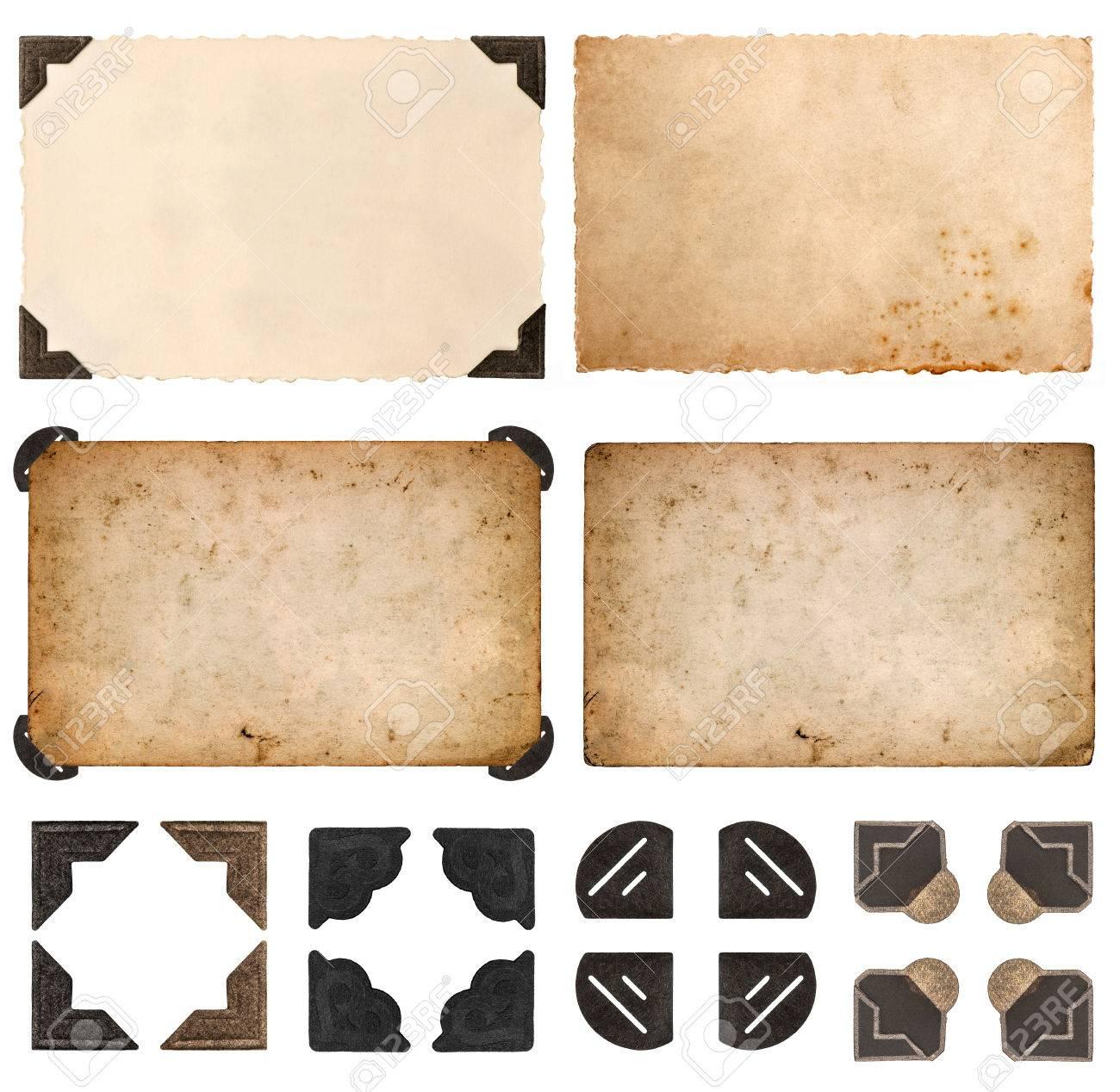 Alte Kartons, Fotokarten, Rahmen Und Ecken Auf Weißem Hintergrund ...