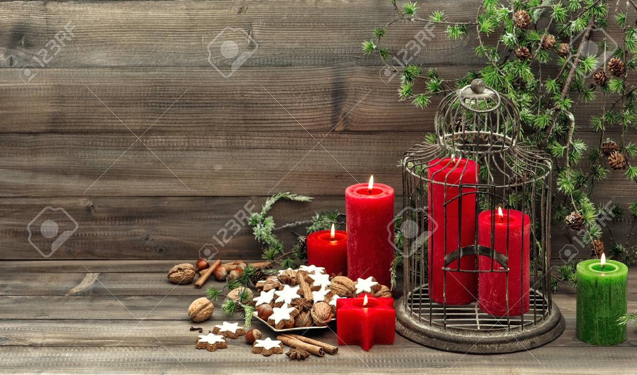 Christmas Decoration Birdcage Red Candles And Pine Branch