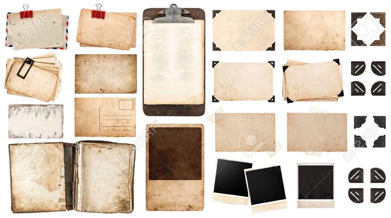 Jahrgang Papier Blatt, Buch, Alte Bilderrahmen Und Ecken, Antiken ...