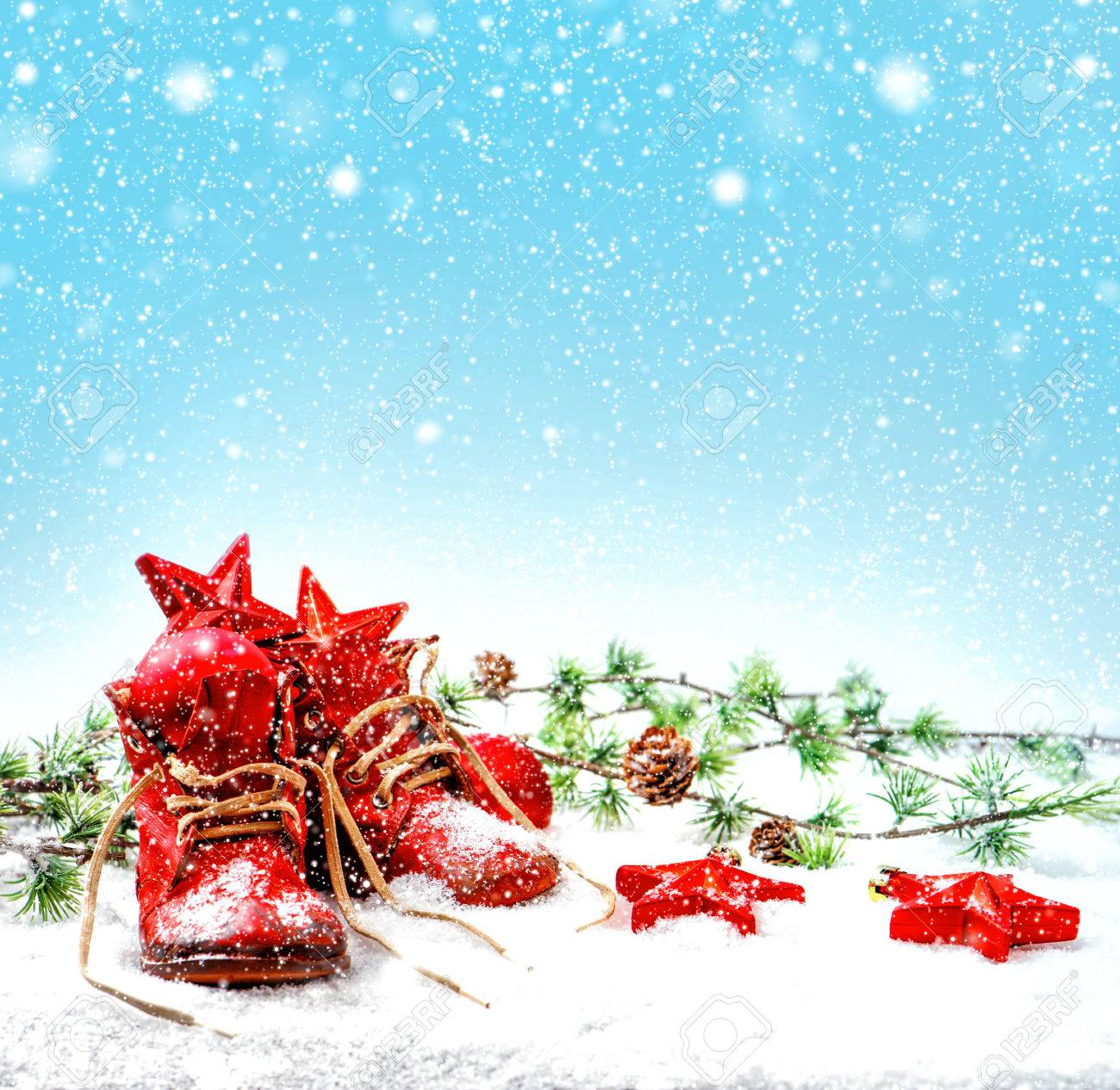 Nostalgic Christmas Decoration With Antique Baby Shoes. Retro ...