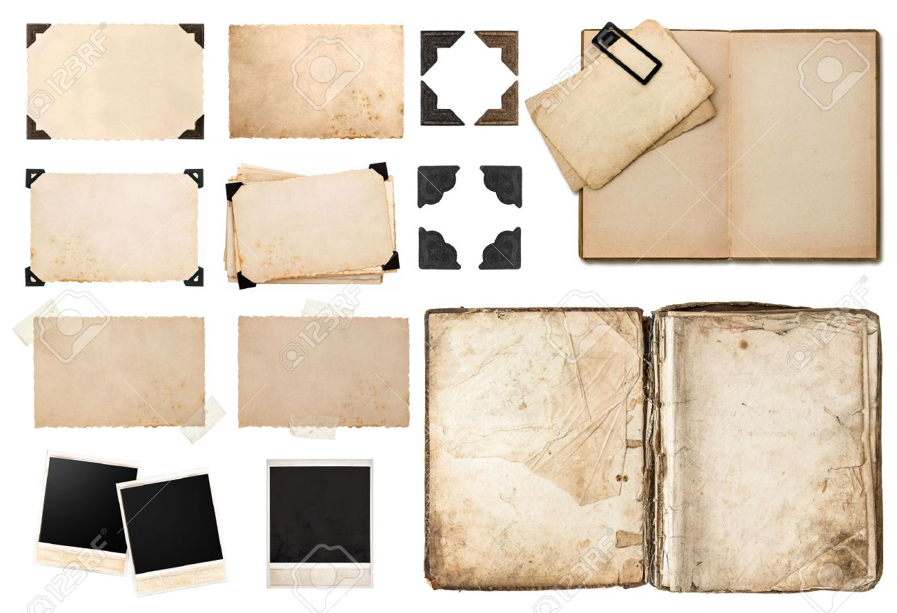 stock photo antique book vintage paper card with corners tapes and frames photo cardboard instant photo polaroid postcard isolated on white background